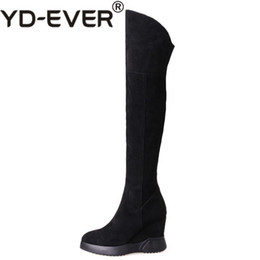$enCountryForm.capitalKeyWord UK - YD-EVER Fashion New Women Cow Suede Over The Knee High Boots Wedges High Heels Long Warm Snow Boots Ladies Tight