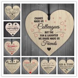 Toptan satış Noel tahta kalp şeklindeki Çip Asma Hediyeler Aşk Plak kolye Süsler Harf Baskı Şarap Şişesi süslemeler kolye Etiketler A101103