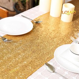 "table tablecloths Australia - 3pcs lot Sequin Table Runner 14"" x 108"" Sequin Tablecloth Gold Table Cloths Valentines Day Linens Party Decoration"