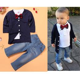 $enCountryForm.capitalKeyWord Australia - Baby Boy Clothing Coat +Shirt+Jeans 3pcs Gentleman Outfit Kids Causal Leisure Sets Children Cotton Baby Clothes Sets tops+pants 0-7Y CQZ175C