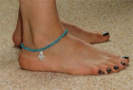 $enCountryForm.capitalKeyWord Australia - New Women Girls Stylish Hamsa Hand Of Fatima Bead Chain Foot Jewelry Anklet Turquoise Beach Ankle Elastic Foot Chains Anklets Bracelets