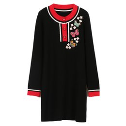 $enCountryForm.capitalKeyWord Canada - New knitted long-sleeved dress autumn winter Insect Butterfly embroidery pattern round collar pullover Three-piece single-breasted dress