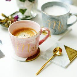 Natural desktop online shopping - Handpainted Gold Monogram Natural Marble Porcelain Coffee Mug Mr and Mrs Tea Milk Cups and Mugs Creative Wedding Gift