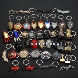 Discount batman metal keychain - The Avengers Keychain 2019 Captain America Shield cartoon accessories Spider man Iron man Mask decorations Hulk Batman K