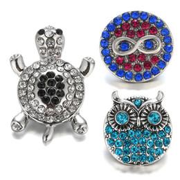 Noosa Chunk Jewelry Wholesale Australia - 18-20MM Noosa Snap Buttons Crystal Turtle Owl Shape Metal Snap Button Charm Rhinestone Styles Rivca Snaps Jewelry NOOSA Chunk M49Q