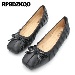 9c217dbef72b designer square toe black chinese ladies cute foldable ballet flats kawaii  soft large size ballerina bowtie shoes women bow