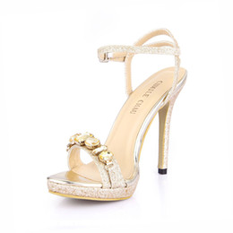 China Sexy Glitter Bridal Party Women Shoes Stiletto Heel Ankle Strap Crystal Sandal Plus Size Zapatos Mujer 0640ASL-a6 cheap leather silver wedding sandals suppliers