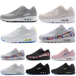0d31db5e Nike Air Max 90 90s Shoes Кроссовки для Мужчин Женщин Международный Флаг  Белый Черный Розовый Серый Дышащий Классические Спортивные Спортивные  Кроссовки 36- ...