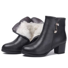 elegant heel snow boots Australia - Elegant Fashion Genuine Leather Shoes Woman Single Ankle Boots 2019 Warm Plush and Wool Snow Boots Winter Women Boots Plus Size