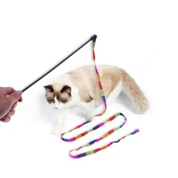 $enCountryForm.capitalKeyWord NZ - 1 6pcs Rainbow Streamer Pet Cat Feather Toys Play Fun Cat Wand Catcher Teaser Sticks Cat Interactive Training Toys Wholesale
