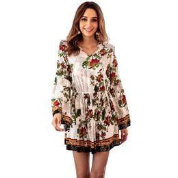 673be38cee women designer maxi dresses clothes dresses Sexy short dress women jumpsuits  cotton printed long-sleeved V-neck elastic waist holiday dress