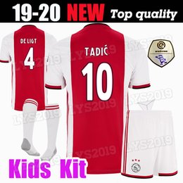 bd2eff9422d Ajax home red Soccer Jerseys 19 10 Ajax away Shirts 2019 2020 #10 TADIC  ZIYECH DE JONG SCHONE Champions Kids Kit Youth football Uniform
