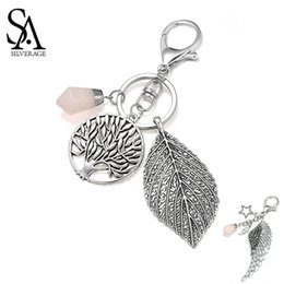 bags wings Australia - SA SILVERAGE Round Life Tree Leaf Pink Crystal Key Chains Wing Star Keychain Star Bag keychain Car Key Accessories Vintage