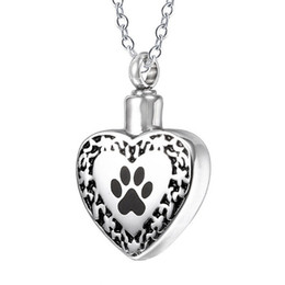 $enCountryForm.capitalKeyWord UK - Custom Ashes Necklaces Stainless Steel Cat Dog Paw print Vintage Flower Pattern Heart Cremation Jewelry Urn Necklace
