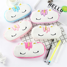 Discount stuffed unicorn dolls Kawaii 20CM Approx Plush Unicorn Plush Stuffed DOLL Toy of Coin Pencil BAG Doll Unicorn Horse Plush BAG Toy Doll DHL FJ3