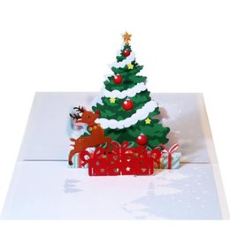 Bow Cards Wholesale Australia - 3D Pop Up Deer Shape Merry Christmas Greeting Card Festival Decoration Bow Knot Home, Bar, Restaurant, etc