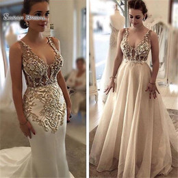 wedding dress applique pieces NZ - 2020 Classic Sexy Mermaid Wedding Dress Bridal Party Wear V-neck with Detachable Skirt Appliques Arabic Style Prom Dresses
