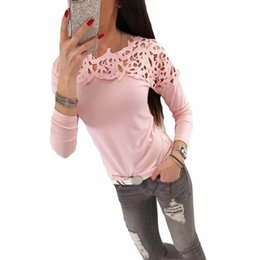 Hollow Lace Shirts Crochet Australia - 2019 Sexy Slim T-Shirts for Women Crochet Lace Splice O Neck Long Sleeve Female T-shirt Hollow Out Solid Color Top Pink White