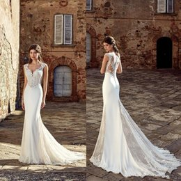 Lace Country Style Wedding Dresses Australia - 2019 Spring Country Style Mermaid Wedding Dresses with Cap Sleeves Button Back Court Train Lace Chiffon Beach Bridal Gowns