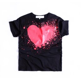 e697bfdc Designer T Shirt For Men Fashion Brand Tops Heart Shape Printed Lovers Women  T Shirts Hip-hop Solid Short Sleeve Mens Clothing