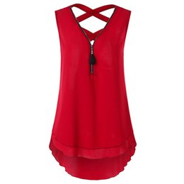 Tank Crossing UK - Gamiss Women Half Zipper High Low Criss Cross Tank Top Summer Solid Sleeveless Backless Layered Tank Casual Loose Tops M-2xl Y19042801