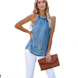 Discount women sexy top jeans Women sexy Lace-up Neck Jean Hank Top and Vest