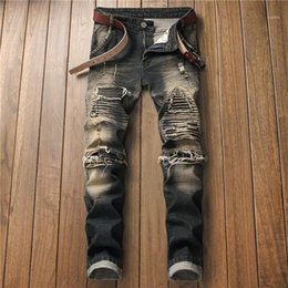 american apparel style 2020 - Button Homme Clothing Soliid Color Casual Apparel Ripped Mens Fashion Designer Jeans Straight Regular Zipper Fly cheap a
