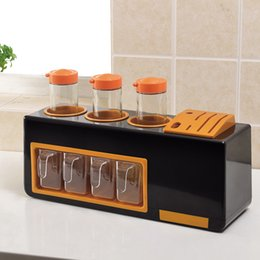 Kitchen Storage Box Set Australia - Household Seasoning Box Set Creative Multi-function Combination Knife Holder Seasoning Salt Pot Kitchen Supplies Storage Box Jar