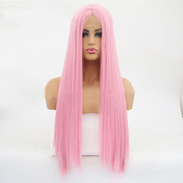 $enCountryForm.capitalKeyWord Australia - Lace Headgear Wig Woman Front Lace Chemical Fibre Head Hair Set Pink Colour Long Straight Hair In Wig