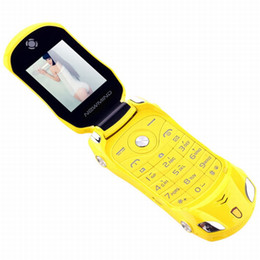yellow color dual sim phones Australia - Original F15 Unlocked Flip Phone Dual Sim Mini Sports Car Model Blue Flashlight Bluetooth Mobile Phone 2sim Cellphone