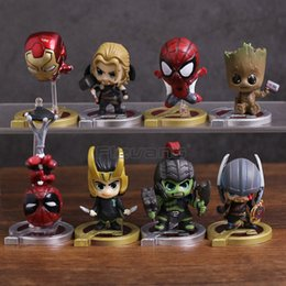 Thor Toys Australia - Avengers Infinity War Spiderman Iron Man Loki Thor Hulk Tree Man Super Heroes Mini Pvc Figures Toys 8pcs set Y19051804