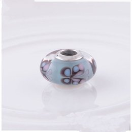 kiss beads Australia - Silver murano charms beads S925 silver fits pandora style bracelets blue butterfly kisses 791622 H8