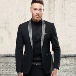 $enCountryForm.capitalKeyWord Australia - New Stylish Design Groom Tuxedos Two Button Black Notch Lapel Groomsmen Best Man Suit Mens Wedding Suits (Jacket+Pants+Tie) 957
