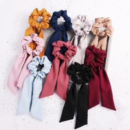 vintage girl fashion hair NZ - Streamer Hair Ring Fashion Ribbon Girl Elastic Hair Bands Scrunchies Horsetail Tie navy Vintage Women Headwear Hair Accessories 100pcs F325A