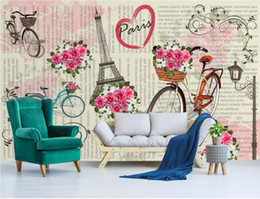 Sound Bicycle Australia - 3d room wallpaper custom photo non-woven mural Modern minimalist Nordic Paris bicycle flower TV mural background wallpaper for walls 3 d