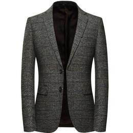 Flat Patch NZ - Men Wool Blazer Jacket With Elbow Patch Plaid Tweed Suit Jackets Slim Fit Casual Business Dress Blazer Male Elgland Style M-4xl J190420