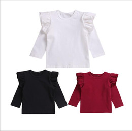 Wholesale girl ruffle long sleeve blouse for sale – plus size Baby Girls Clothes Kids Falbala Solid T shirts Ruffle Long Sleeve Tops Cotton Casual Shirts Toddle Boutique Tee Fashion Sports Blouses B6180