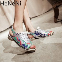 Lace Peep Toe Flats Australia - Summer Sandals Women Flats Plus Size 34-43 Female Casual Peep Toe Lace up Shoes Slip On Band Leisure Camouflage Sandals Footwear