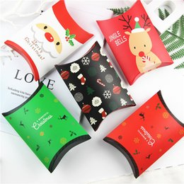 pack cookies Australia - Christmas Pillow Gift Box Elk Santa Claus Container Packing Storage Xmas Candy Biscuit Cookie Boxes Red Color Paper Dessert Bags