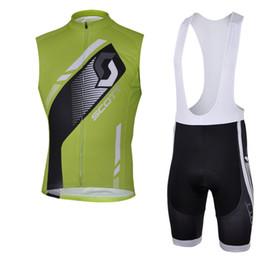 Scott Bike Bibs UK - SCOTT team Cycling Sleeveless jersey Vest bib shorts sets Breathable Quick Dry Polyester bike wear Outdoor sports clothes summer mens Y53080