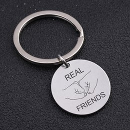 Cartoon Stamping Australia - Hand Stamped Real Friends Round Keychain For Best Friend Key Gift Friendship Exclusive Key Ring Fashion Jewelry Tag
