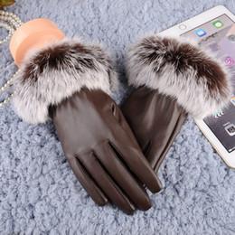 Genuine Leather Gloves Wholesale Australia - Women Lady Black Leather Gloves Autumn Winter Warm Rabbit Fur Mittens gloves men leather genuine waterproof cycling winte
