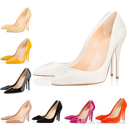 $enCountryForm.capitalKeyWord Australia - New Fashion designer women shoes red bottom high heels 8cm 10cm 12cm Nude black white yellow Leather Pointed Toes Pumps Dress Wedding shoes