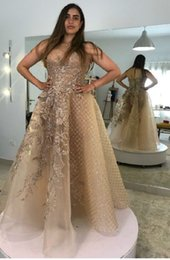 gold purple aso ebi NZ - 2019 Arabic Aso Ebi Gold Lace Beaded Evening Dresses Sheer Neck A-line Prom Dresses Vintage Sexy Formal Party Second Reception Gowns ZJ254
