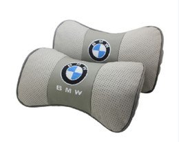China 2Pcs Real Leather Car Seat Neck Cushion Pillow Car Headrest Fit For BMW Car supplier leather seating for cars suppliers