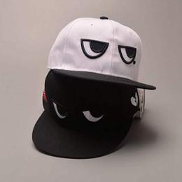 EyE hats online shopping - Summer Cotton Baseball Cap Black White Eyes Hip Hop Dad Hat Men Women Adjustable Snapback Flat Cap