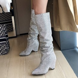 Wholesale Silver Fashion Rivet Knee High Boots Women Sequin Wedges High Heels Long Boots Slip On Pointed Toe Autumn Winter Ladies Shoes
