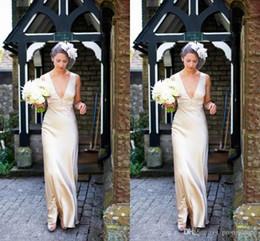 Zipper Empire Wedding Dresses Australia - Simple Design Wedding Dresses Champagne Satin Deep V-Neck Sleeveless With Zipper Back Bridal Dresses Fashion Wedding Gowns