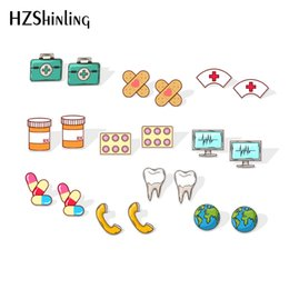 $enCountryForm.capitalKeyWord Australia - 2019 New medicine box Acrylic Earrings Doctor Symbol Shrink Dinks Earrings Epoxy Cute Bandage Silver Stud Earring