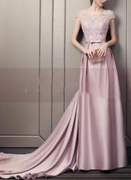 $enCountryForm.capitalKeyWord UK - Round collar applique beaded belt bow a-line trailing luxury perfect evening dress
